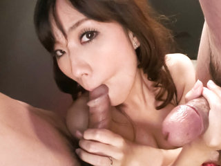 Manami Komukai with two horndogs getting down and dirty.