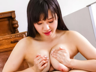 Cock hungry Azusa Nagasawa licks and sucks on a hard dick making it cum